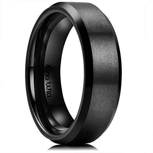 (King Will Men's 6mm Black Titanium Wedding Ring Matte Finish Beveled Polished Edge Engagement Ring 11.5)
