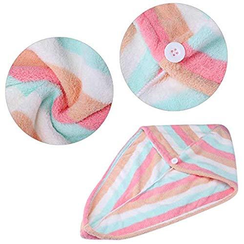 10 x 25 // 25 x 65 cm Rainbow 2 Pack Microfiber Hair Turban Wrap,Quick Dry Hair Towel Wrap Turban- Super Absorbent