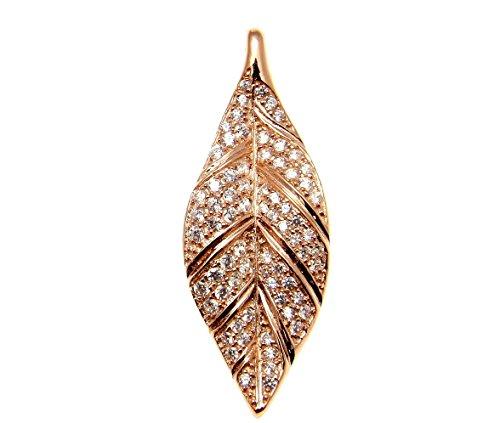 Leaf Sterling Silver Slide Pendant - 925 Sterling silver pink rose gold plated Hawaiian maile leaf cz slide pendant