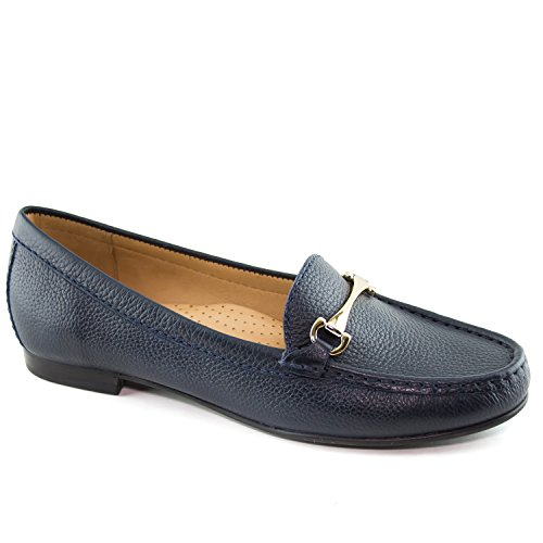Driver Club USA Women's Fashion Shoes Grand 2 Navy Grainy Buckle Loafer 9