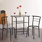 Dining Kitchen Table Dining Set,3 Piece Metal Frame Bar Breakfast Dining Room Table Set Table and Chair with 2 Chairs (Renewed)