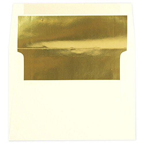 "JAM Paper A7 Foil Lined Invitation Envelopes - 5 1/4"" x 7 1/4"" - Ecru with Gold Foil Lining - 25/pack"