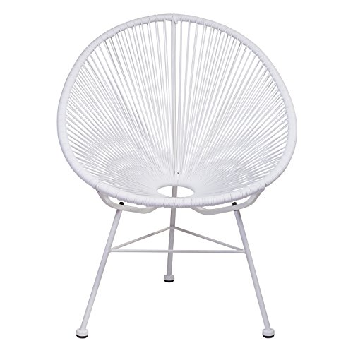 Design Tree Home Acapulco Indoor/Outdoor Lounge Chair, White Weave on White ()