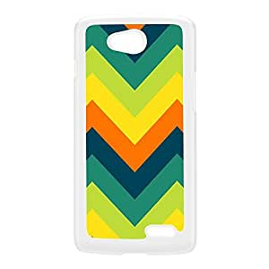 Green and Orange Chevron Pattern White Hard Plastic Case for LG L70 by UltraCases + FREE Crystal Clear Screen Protector
