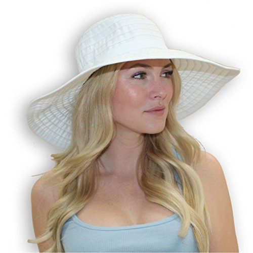 Women's Wide Brim Packable Sun Travel Hat For Large Heads - Ginger (X-Large, White) (Large Head)