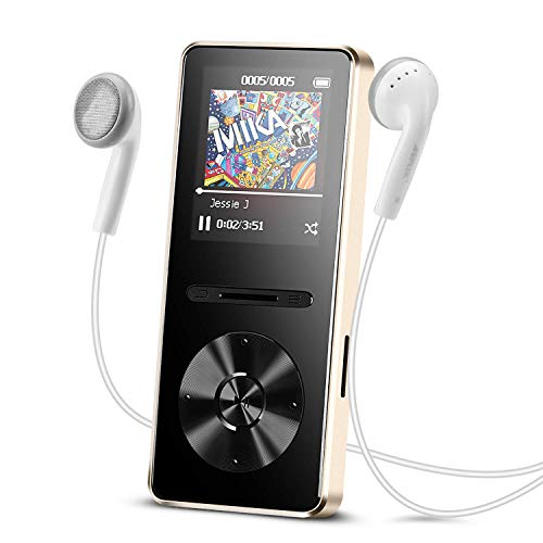 AGPTEK A29 8GB MP3 Player with in-line Control, Metal Lossless Music Player with FM Radio/Voice Recorder, 1.8-inch TFT Display (Expandable Up to 128GB), Gold