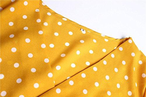 Strandkleider Seite Kleid Damen Kurz V Halbe Gelb Kleider Irregulär Mode Hülse Schnitt Blusenkleider Gepunktet Lotusblatt Urlaub Sexy Sommer Beachwear