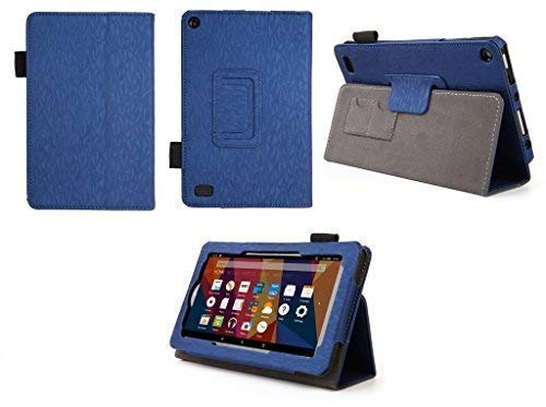 Case for Kindle Fire 7 (5th, 7th and 9th Generation) Tablet - Folio Case with Stand for Kindle Fire 7 Inch Tablet - (Imprint Blue) (Kindle Hdx 7 4th Generation)