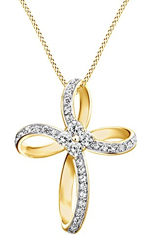 White Cubic Zirconia Loop Infinity Cross Pendant Necklace In 14K Gold Over Sterling Silver