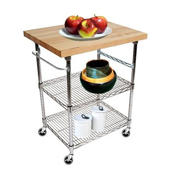 3 Tier Gourmet Cart With 20u0026quot; Deep X 28u0026quot; Wide Maple ...