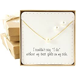 Bridesmaid Gifts- Pretty Single Floating Bridal Pearl Necklace and Earrings Set, Gold Color
