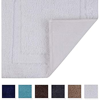 TOMORO Non-Slip Bathroom Rug Super Absorbent Bath Mat Extra Soft Microfibers Non-Skid TPR Bottom (17.5 x 27 inch, White)