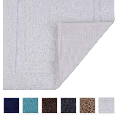 TOMORO Microfibers Non-Slip Bathroom Rug – Quick Dry, Super Absorbent and Soft Luxury Hotel Door Carpet Shower Shaggy Bath Mat Waterproof TPR Non-Skid Backing 20 x 32 inch White