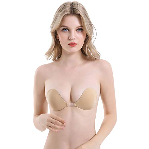 ALLYOUNG Backless Strapless Bras for Women Self Adhesive Invisible Sticky Push Up Bra (Khaki, A/B)