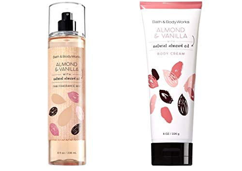 (Bath and Body Works  Almond Vanilla Mist and Cream Set Original Naturals Line White Packaging 8 Ounce Each)