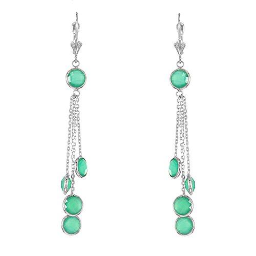 Green Earrings Onyx (14k White Gold Chandelier Earrings With Green Onyx Gemstones)