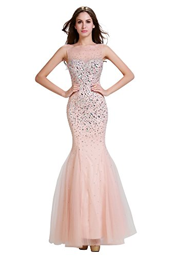 Annie s Bridal Women s Tulle Crystal Long Mermaid Evening Prom Formal  Dresses d419efb93