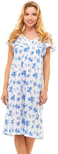 Floopi Womens Nightgown Sleepwear Cotton Pajamas - Womans Short Sleeve Sleep Dress Nightshirt (1X, (Sleeve Floral Nightshirt)