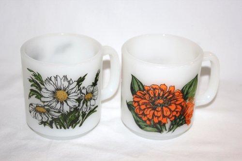 - SET OF 2 - Vintage Glasbake Milk Glass Daisy & Zinnia Language of Flowers Mug Cups