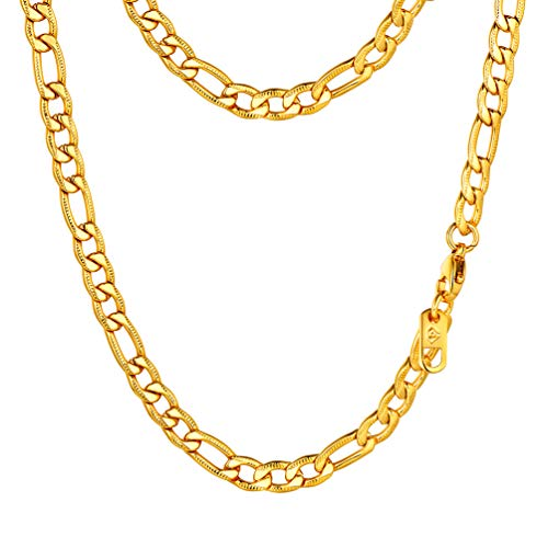 PROSTEEL Miami Figaro Link Necklace 18K Gold Plated Stainless Steel Hip Hop Chain Women Men Jewelry Gift