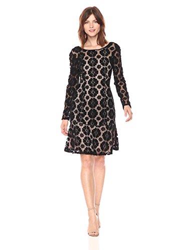 Lace Dress Flounce (Adrianna Papell Women's Textured Florl Lace Flounce Dress, Black/Pale Pink, 14)