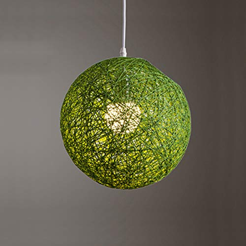 - CUICAN Single Pendant lights,Modern Simple Round Rattan Hemp ball Chandelier Creative Restaurant Bar Green Hanging lamp-B diameter20cm(8inch)