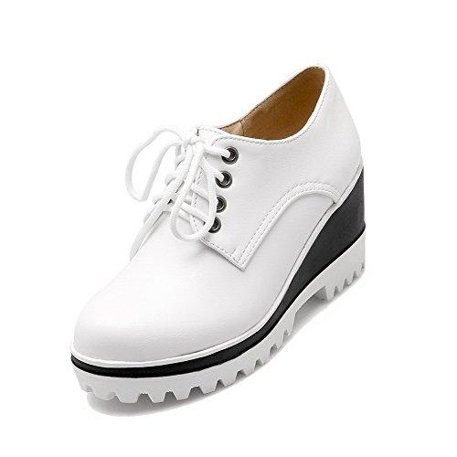Zapatos De Tacón Alto Con Cordones Redondeados Y De Tacón Alto Para Mujer Allhqfashion De Color Blanco