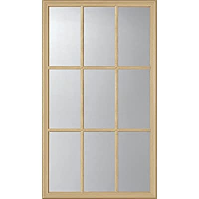"ODL Clear Low-E Door Glass - 9 Light External Grille - 24"" x 38"" Frame Kit"