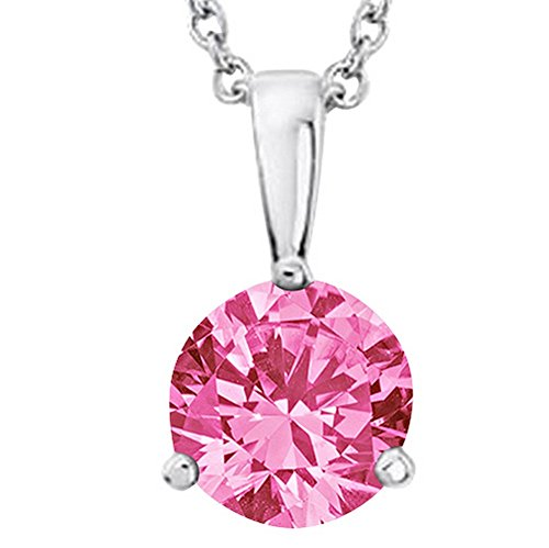 Houston Diamond District 1 1/2 1.5 Carat Platinum Round Pink Sapphire 3 Prong Solitaire Pendant Necklace (AAA Quality) W/ 16