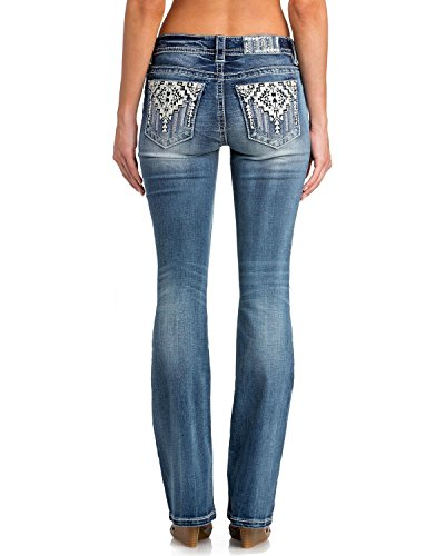 Miss Me Junior's Mid-Rise Stretch Boot Cut Jeans With Aztec Embroidery, Medium Blue, 29 - Miss Me Leather Jeans