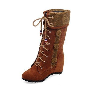 Heart&M Mujer Zapatos Cuero Nobuck Otoño Invierno Confort Innovador Botas de Moda Botas Tacón Cuña Dedo Puntiagudo Mitad de Gemelo Con Cordón Para brown
