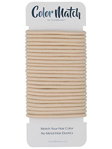 Beige Blonde No-Metal 4mm Elastic Hair Ties Color Match Ponytail Holders - 24 Count