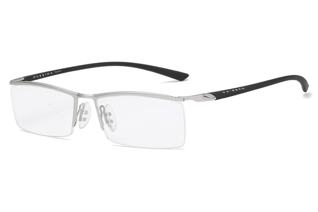 LUOMON Customize Non-Prescription Glasses Men 54mm Semi Rimless Plain Eyeglasses with Silver TR90 Unbreakable Frame EG001