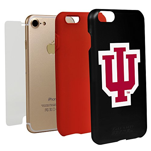 Guard Dog Black Hybrid Case for iPhone 7/8 and Guard Glass Screen Protector (Indiana Hoosiers)