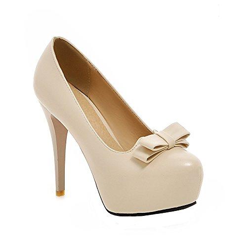 Damen Stiletto High Heels Plateau Runde Pumps mit Schleife Party Geschlossen Schuhe