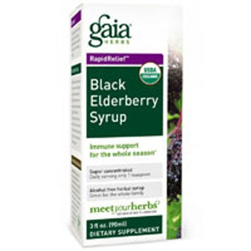 Gaia Herbs Black Elderberry Syrup, 5.4-Ounce Bottle ( Multi-Pack) (Gaia Herbs Elderberry Syrup)