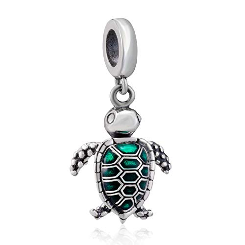 Sea Turtle Animal Charms 925 Sterling Silver Tortoise Pet Charms Bead for European Bracelet (Green Dangle)