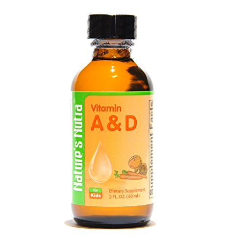 Nature's Nutra Vitamin A&D, 2 Fl. Oz (60ml), Premium Baby and Infant Liquid Drops, Toddlers Kids Children Multivitamin Supplement, No Fishy Smell, Maximum Absorption