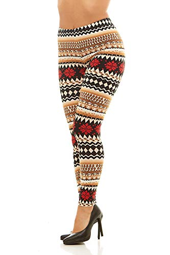 Just One Women's Leggings Christmas Xmas Winter Soft Comfortable (Regular and Plus Size) (Small, Red Black White)