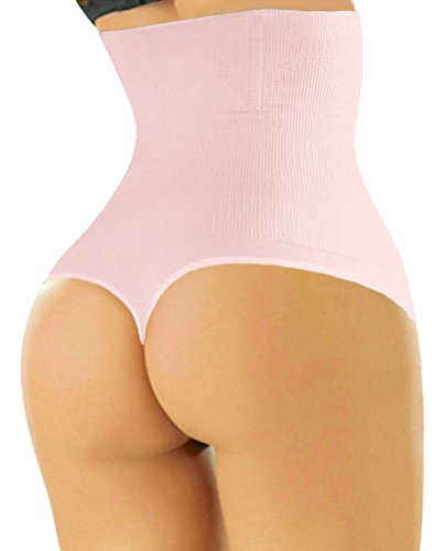 (ShaperQueen 102 Best Womens Waist Cincher Body Shaper Trimmer Trainer Slimmer Girdle Faja Bodysuit Short Tummy Belly Weighloss Control Brief Corset Plus Size Underwear Shapewear Thong (XS, Soft Pink))