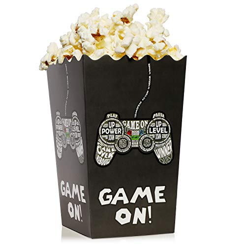 100-Pack Video Game Popcorn Boxes - 46oz Open Top Popcorn Favor Containers, Video Game Party Supplies, Movie Night, Birthday, Baby Shower, Gaming Parties, Game On Print, 3.75 x 3.75 x 7.8 Inches -