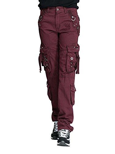 Women's Cotton Casual Straight Leg Active Loose Fit Multi Pockets Cargo Pants Bordeaux Tag 30-US (Capri Cargo Sweatpants)