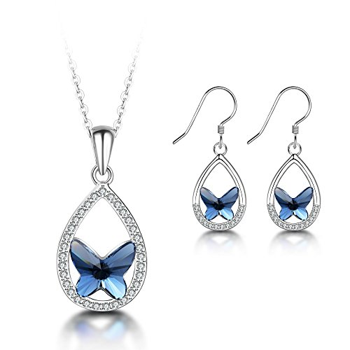 T400 925 Sterling Silver Blue Butterfly Pendant Necklace Made with Swarovski Elements Crystal Dangling Stud Earrings Jewelry Set Birthday Gift for Women Girls