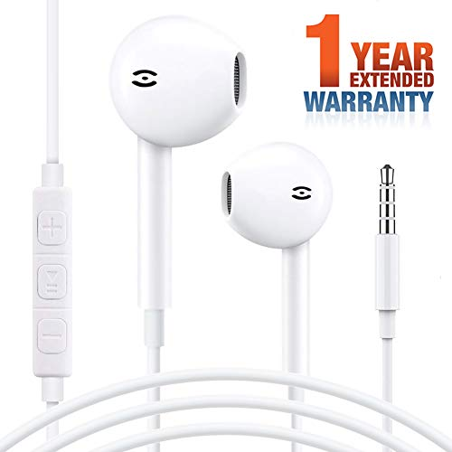 BlueStar Earphones - Wired Headphones Perfect Sound with Remote and Mic 3.5mm Jack Earphones Stereo Noise Isolation White Earbuds fits Phone Mac Android Samsung Galaxy Kindle MP3 MP4 (Bass 8x10')