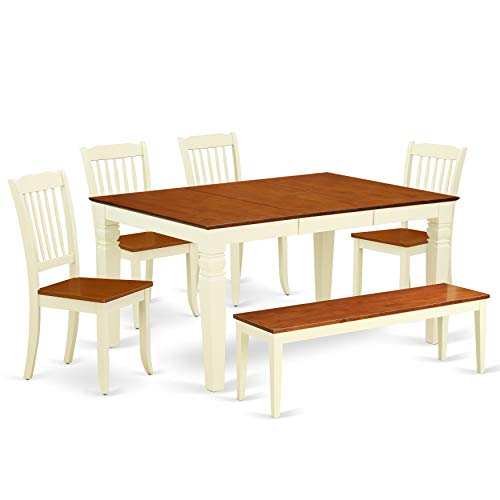 (East West Furniture WEDA6N-BMK-W 6PC Rectangular 42/60 inch Table with 18 in Leaf and 4 Vertical slatted Chairs Plus 1 Bench, Buttermilk & Cherry)