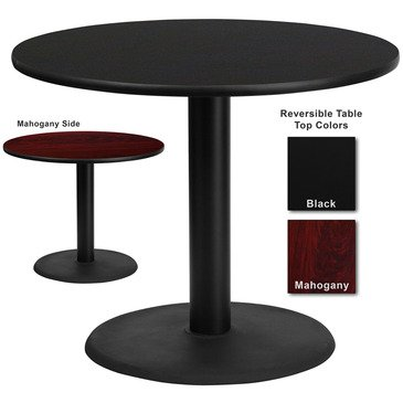 Flash Furniture 36 Inch Round Dining Table W/ Black Or Mahogany Reversible Laminate Top