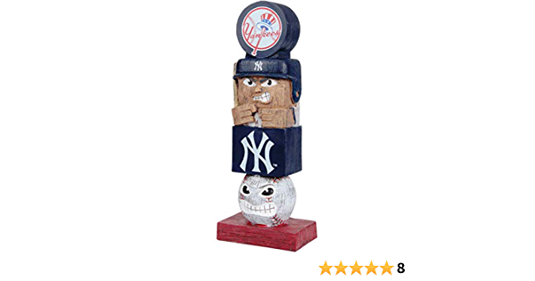 Yankees 16 Inch Tiki Totem Pole Outdoor Resin Home Garden Statue Decoration Baseball Rico Industries Inc