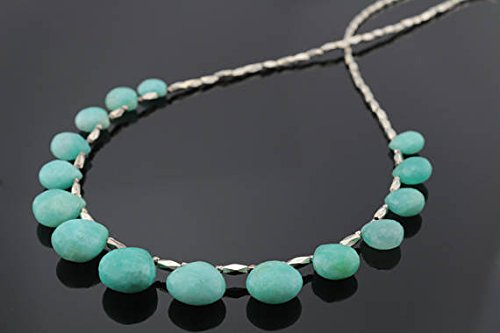 (JP_Beads Amazonite Beaded Necklace with Silver PlatedKaren Hill Tribe Beads 4x7mm 16