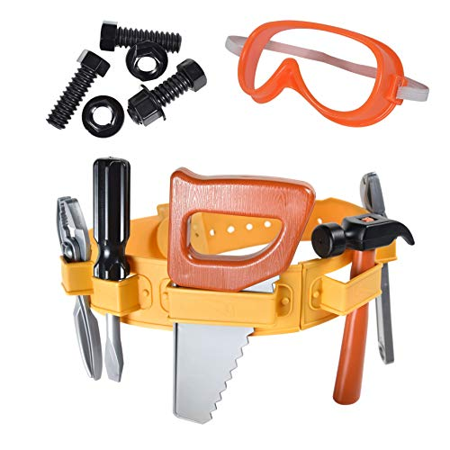 Maxx Action Power Tools 22-Piece Deluxe Tool Belt Set for Kids with Tape Measure, Goggles, Screwdriver, Hammer and More