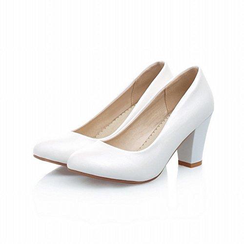 Carol Chaussures Nuptiale De La Grâce Des Femmes Grâce Soirée De Danse Douce Charme Haute Talon Chunky Robe Chaussures Chaussures Blanc